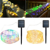 Solar Powered 120LEDs 8Modes Waterproof Fairy Copper Fio Corda String Light for Christmas