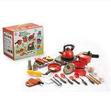 Cuatro tipos de utensilios de cocina de plástico simulado con juguetes de barbacoa ligeros y con sonido para niños