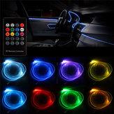 RGB LED الألياف الضوئية النيون EL قطاع ضوء سيارة الديكور الداخلي مصباح أنبوب مرن التطبيق التحكم عن بعد مراقبة 5 م