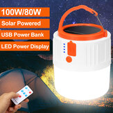 Solar Powered Rechargeable Emergency Camping LED Tent Light Outdoor USB Lamp + Remote Control