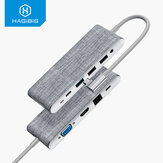 Hagibis USB-C Hub-Dockingstation-Adapter mit 4K HDMI HD-Display / 1080P VGA / 100 W USB-C PD3.0 Stromversorgung / USB-C-Datenübertragungsanschluss / 3,5-mm-Audiobuchse / USB 3.0 / USB 2.0 * 2 / Speicherkartenleser