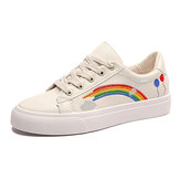 Dames Low Top Rainbow Comfy Wearable Casual Flat Court Sneakers