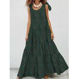 Kadın Pamuklu Çiçekli Baskı Kolsuz Çıkarılabilir Bohem Dantel-Up Pileli Maxi Elbise