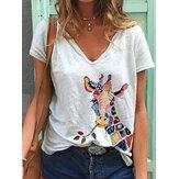 Kadın için Karikatür Zürafa Hayvan Baskı V Yaka Kısa Kollu Gevşek T-shirt
