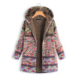Women Winter Patchwork Floral Printed Hooded Coats