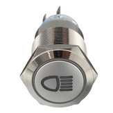 12V 19mm Zilver Metaal LED Drukknop AAN AAN Latching Switch Light Symbol