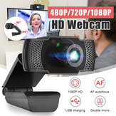 X22 HD 480P/720P/1080P USB2.0 Webcam Auto Focusing with Dual Mics Smart Web Cam YouTube Video Recording Conferencing Meeting Camera for Macbook Computer