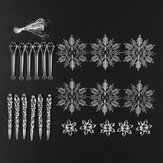 24Pcs Christmas Large Snowflake Ornament Charm Pendant Xmas Party Decoration