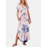Tie Dye Print V-neck Side Pocket Split Irregular Hem Maxi Dress
