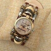 B15 moda strass de aço inoxidável fivela de couro par de pulseira relógio de quartzo