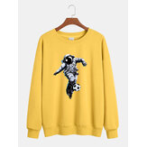 Mens Cotton Astronaut Chest Print Relaxed Fit Crew Neck Pullover Sweatshirts