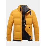 Cappotti antivento caldi con colletto alla coreana da uomo tinta unita
