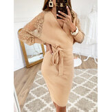 Solid Color Wrap Design Long Sleeves Bodycon Knit Midi Dress