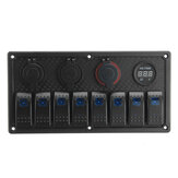 8 Gang Rocker Switch LED Panel ON-OFF Toggle Circuit Breaker Waterproof For Marine Boat Car RV
