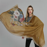 Women Satin Printing Breathable Outdoor Lightweight Scarf