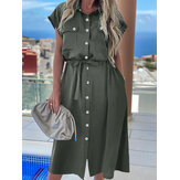 Short Sleeve Lapel With Side Pocket Casual Holiday Dresses For Women