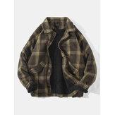 Jaqueta com bolso de lapela forrada de lã de cordeiro quente vintage xadrez vintage