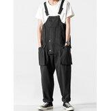 Mens Fashion High Rise Solid Color Multi Pockets Casual Overalls Pants