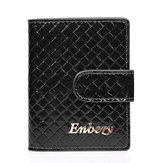 couro legítimo RFID Hasp titular do cartão Quilted Business Name Case Short Wallet
