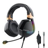 BlitzWolf® BW-GH2 Słuchawki do gier 7.1 Kanałowy 53mm Sterownik USB Przewodowy zestaw słuchawkowy RGB Gamer z mikrofonem do komputera PC PS3/4