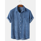 Mens Casual Corduroy Light Breathable Pocket Short Sleeve Shirts