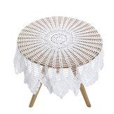 Tovaglia in pizzo di cotone all'uncinetto vintage bianca Tovaglia rotonda Tovaglia da 90 cm Tovaglia floreale Forniture per la casa