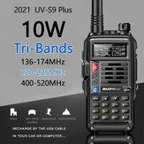 2021 BaoFeng UV-S9 Plus Walkie Talkie Tri-Band 10W Potente 10W CB Radio Transceptor VHF UHF 136-174Mhz / 220-260Mhz / 400-520Mh 10W 10km Longo alcance acima do rádio portátil uv-5r 2x Antena