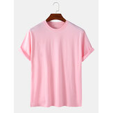 Mens 100% Cotton Solid Color Round Neck Casual Short Sleeve T-Shirts