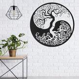 Fekete életfa fém függő falfestmény kerek függő szobor házikert irodai dekorációs kellékek
