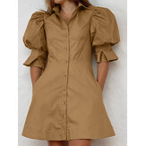 Women Solid Color Puff Sleeve Button Up Lapel Casual Mini Dress With Pocket