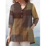 Γυναικεία μπλούζα με μπλούζα με τσέπες και τσέπες V-Neck