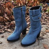 Women Retro Denim Cloth Side Zip Bag Decor Chunky Heel Mid Calf Boots
