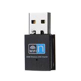 Adaptador USB 2.0 sem fio 300M WiFi Dongle Placa de rede LAN 2.4G 802.11n Transmissor receptor wi-fi