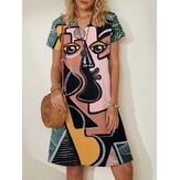 Vestido midi de manga corta informal con cuello en V y estampado de cara de figura abstracta para mujer