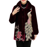 L-4XL Elegant Women Peacock Embroidery Coats