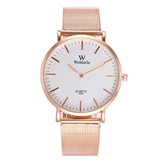 Fashion Couple Quartz Watch Casual Rose Gold Mesh Band Wrist Watch