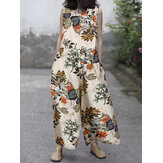 Women Cotton Plant Floral Print Side Pockets Sleeveless Casual Jumpsuits
