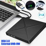 Leitor de DVD externo USB 3.0 CD DVD RW ROM Gravador de unidade óptica Gravador Slim SD