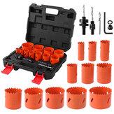 Drillpro 17pcs 19-64mm Juego de cortadores de sierra de orificio de madera y metal herramientas Taladro de sierra de orificio de corte de núcleo