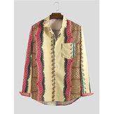 男性ヴィンテージエスニックスタイルプリント春長袖折り襟シャツ