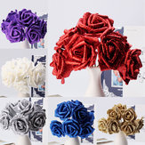 7Pcs Artificial Bouquet Brilho Espuma Artificial Flores Casamento Bridal Party Decor DIY Rose