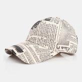 Unisex Made-old Newspaper Pattern Cotton Broad Brim Sunscreen Visor Fashion Casual Baseball Hat