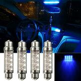 4 pièces 42mm voiture LED feston intérieur Dome ampoules carte porte ampoule lampes bleu couleur universel 12 V