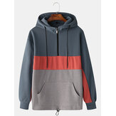 Mens Cotton Color Block Patchwork Front Zipper Casual Loose Kangaroo Pocket Drawstring Hoodies