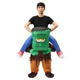 Dewasa Frankenstein Kostum Scary Halloween Fancy Dress Inflatable Blow Up Suit