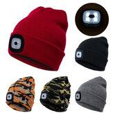 3 modos brilho inverno quente de malha Chapéu LED esportes leves Chapéu