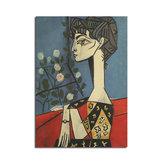 Pitture a fiori di Picasso Jacqueline e fiori Poster poster da parete di carta Kraft DIY Wall Art 21 pollici X 14 pollici