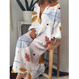Bohemian Women Casual V-neck Long Sleeve Leaves Print Maxi Dress
