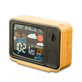 Digital USB Wifi Weather Forecast Station Desk Bamboo Alarm Clock Temperature Humidity APLIKASI Control