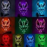 Adereços para fantasias Neon Led Luminous Joker Máscara Carnival Festival Light Up EL Fio Máscara Japanese Fox Máscara Halloween Christmas Decor